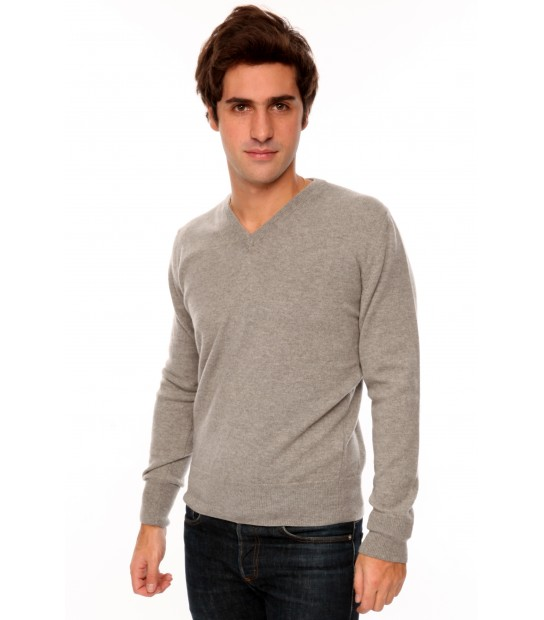 Pull cachemire Col V 3 fils - Gris Clair