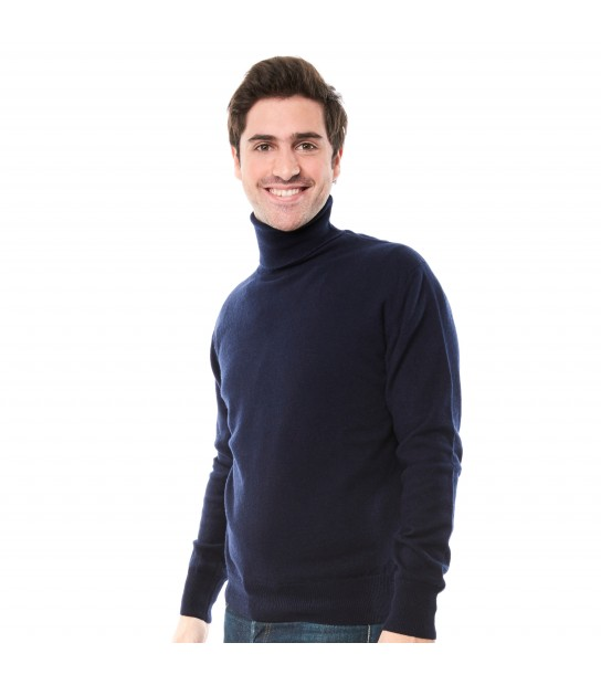 Pull cachemire col roulé - Navy