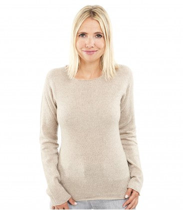 Pull Cachemire col rond sans couture - Camel