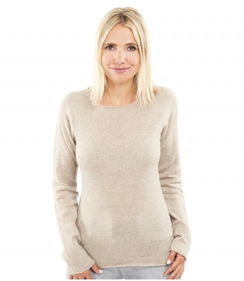 Pull Cachemire col rond sans couture - Mastic