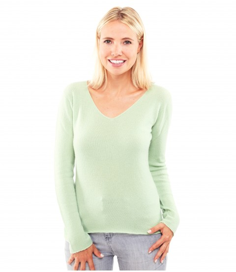 Pull Cachemire col V sans couture - Vert