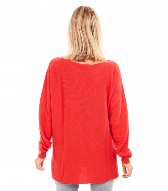 Pull Cachemire Maxi - Rouge