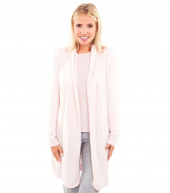 Gilet long cachemire - Rose