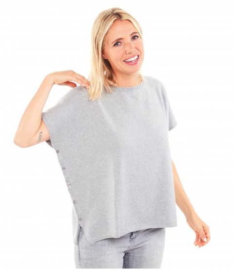 Pull poncho cachemire - Gris