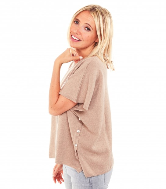 Pull poncho cachemire - Beige