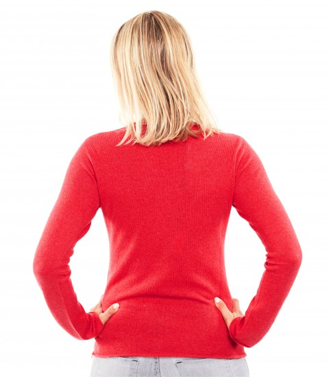 Pull Cachemire col rond sans couture - Rouge