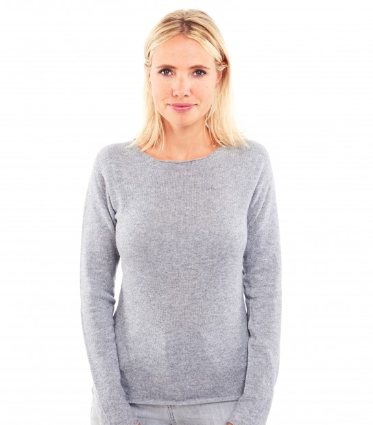 Pull Cachemire col rond sans couture - Gris