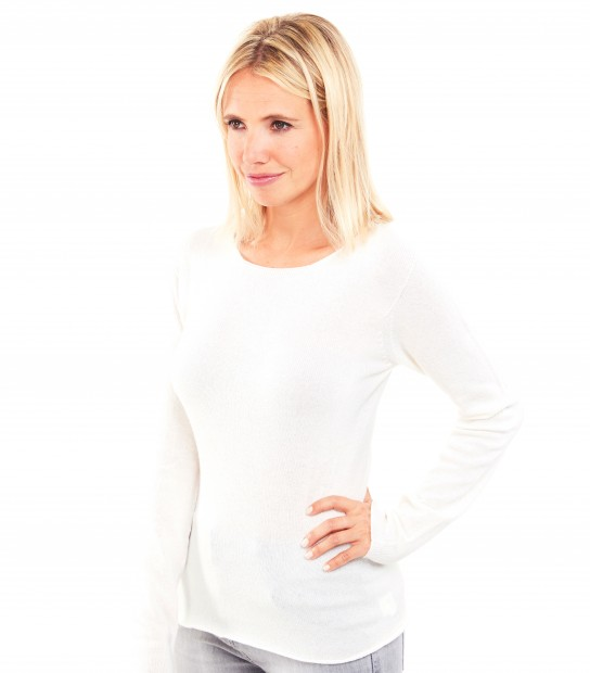Pull Cachemire col rond sans couture - Blanc
