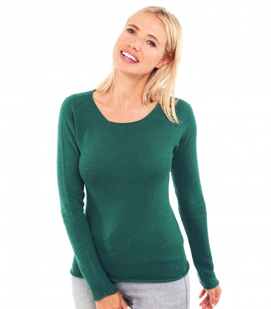 Pull Cachemire col rond sans couture - Vert