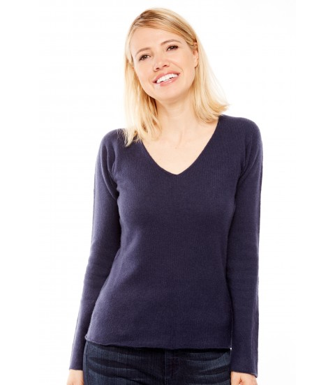 Pull Cachemire col V sans couture - Marine