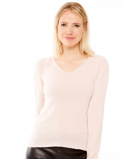 Pull Cachemire col V sans couture - Rose pale