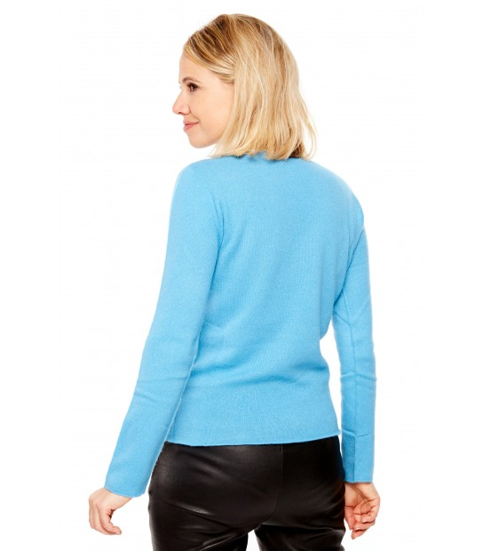 Pull Cachemire col V sans couture - Turquoise