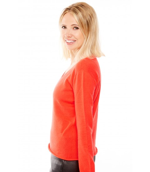 Pull Cachemire col V sans couture - Rouge