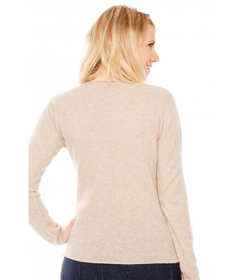 Pull Cachemire col V sans couture - Beige