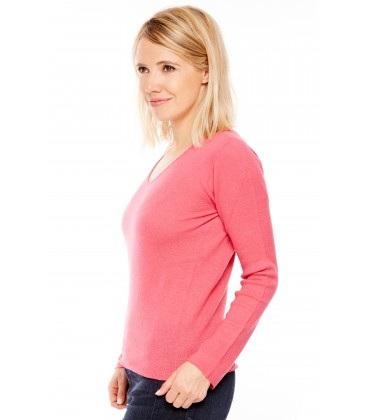 Pull Cachemire col V sans couture - Cyclamen
