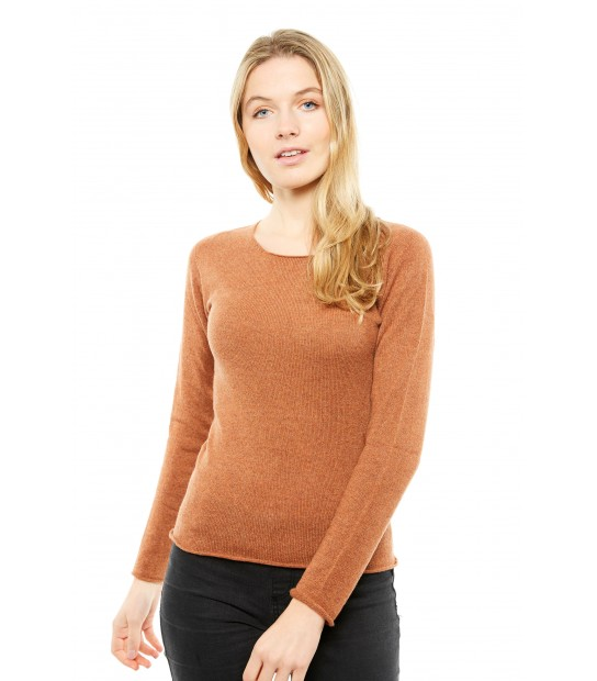 Pull Cachemire col rond sans couture - Caramel