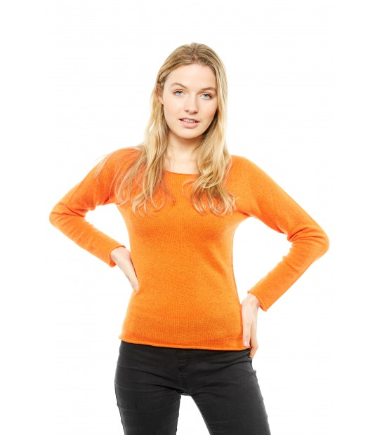 Pull Cachemire col rond sans couture - Orange