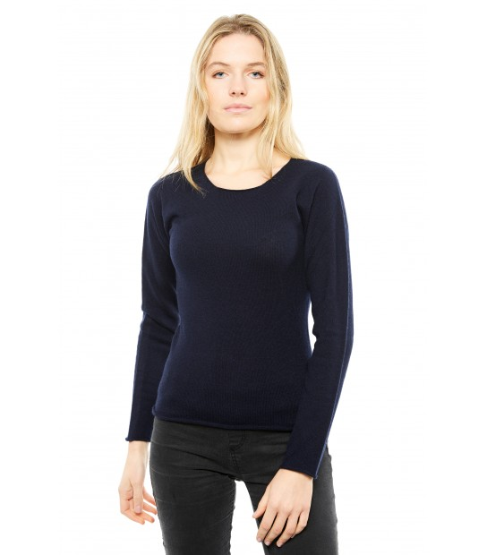 Pull Cachemire col rond sans couture - Marine