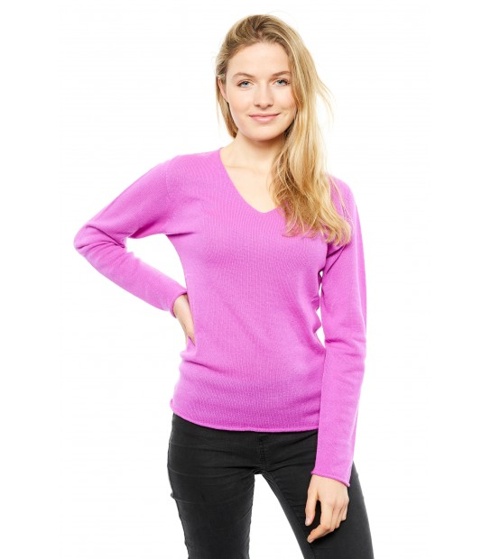 Pull cachemire femme col V - Cardinal