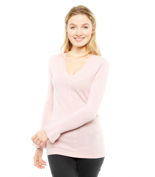 Pull V long cintré - Rose