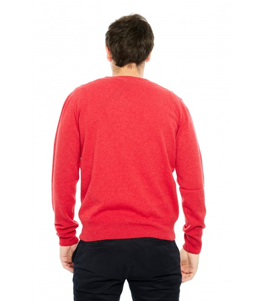 Pull cachemire Col V - Rouge